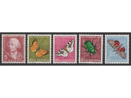 1957, 5-40C série Pro Juventute, MiNr.648-52, **