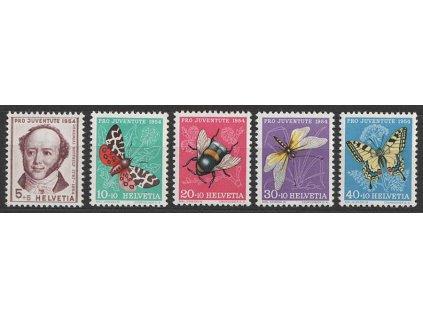 1954, 5-40C série Pro Juventute, MiNr.602-6, **