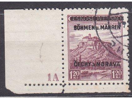 1.20K Mukačevo, roh. kus s DČ 1A - úzký okraj, Nr.11, razítkované