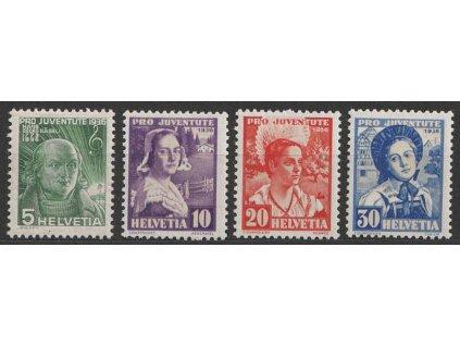 1936, 5-30C série Pro Juventute, MiNr.306-9, **