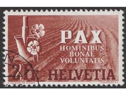 1945, 2 Fr PAX, MiNr456, razítkované