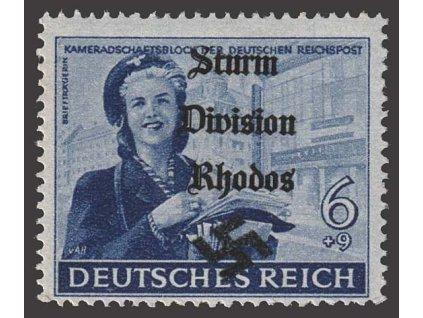 Sturm Division Rhodos, přetisk na známce 6Pf, ** , bez záruky