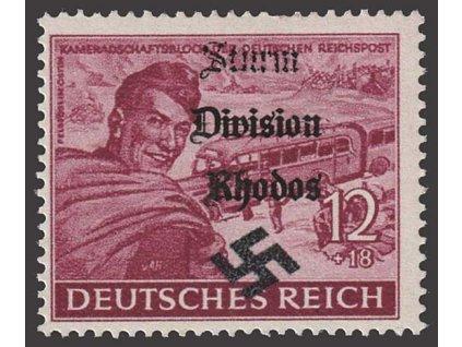 Sturm Division Rhodos, přetisk na známce 12Pf, ** , bez záruky