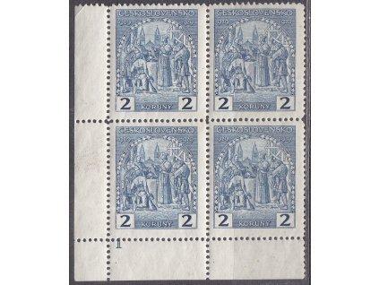 1929, 2Kč sv. Václav, roh. 4blok s DČ 1, Nr.245, **, natrženo nahoře v perforaci