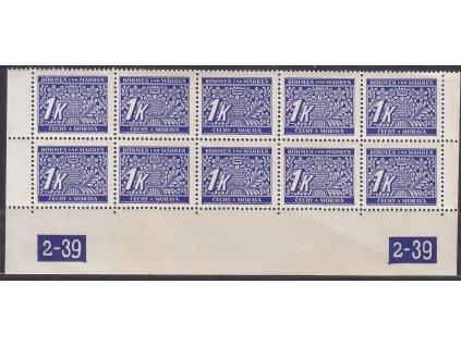 1K modrá, 10blok s DČ 2-39, X-X, Nr.DL9, **