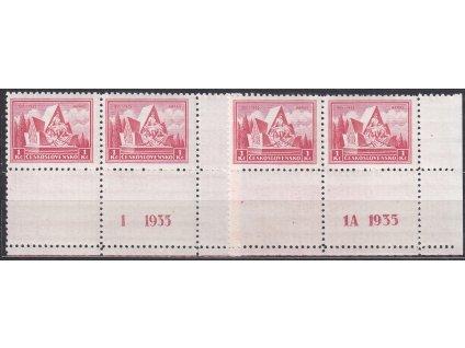 1Kč Arras, 2 dolní 4bloky s kupony a DČ 1,1A, Nr.289, **