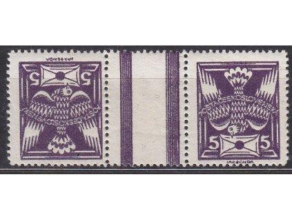 5h fialová, široká protichůdná dvojice, Nr.144TBb, * po nálepce, ilustrační foto