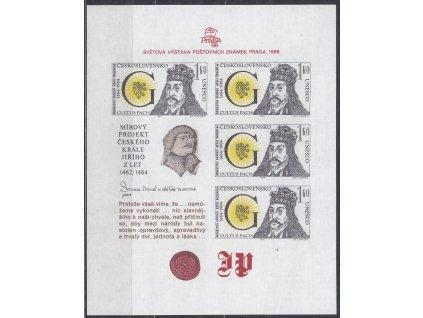 1988, aršík 1.60Kčs Jiří z Poděbrad, Nr.A2863, **