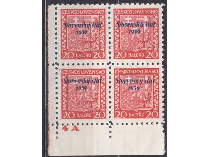 1939, 20h Znak, roh. 4blok s DČ 4A, Nr.4, **