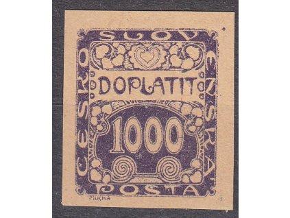 1919, 1000h fialová, ZT na nahnědlém papíru, Nr.DL13, bez lepu, ilustrační foto