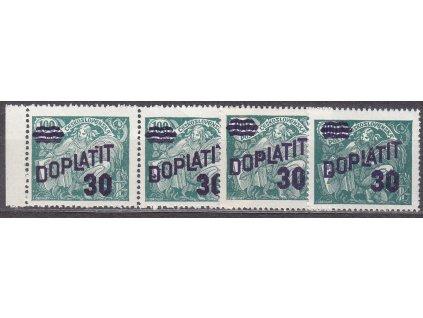 1926, 30/100h zelená, 2 zn. a 2páska, DV - tečky u přetisku, Nr.DL42, * po nálepce