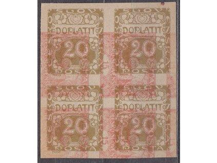 1919, 20h hnědá, ZT ve 4bloku na nahnědlém papíru s tiskem zn. 15h Hradčany, Nr.DL4, bez lepu