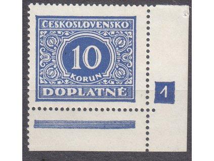 1928, 10Kč modrá, roh. kus s DČ 1, Nr.DL65, * po nálepce