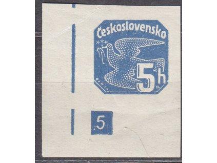 1937, 5h modrá, roh. kus s DČ 5 - přerušený rám, Nr.NV15, **, lehký vlom
