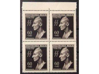 55) 1943, 60h R.Heydrich, Nr.111, krajový čtyřblok, DV - tečka pod BÖHMEN, Engel.kat.N