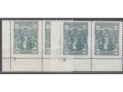 1929, 50h sv. Václav , roh. 2pásky s DČ 1 a 2, Nr.243, **