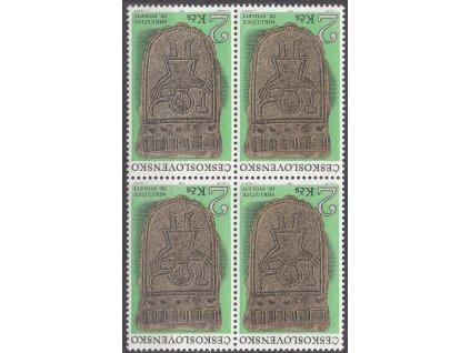 """1969, 2Kčs Archeologie, 4blok s DV - šikmá čára nad písm. """"KO"""", Nr.1790, **"""
