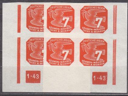 1943, 7h oranžová, L+P roh.4blok s DČ1-43 - přerušený rám, Nr.NV12, **