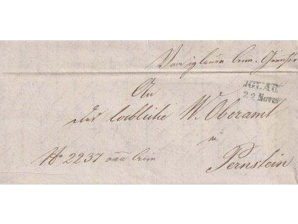 Jglau, modré razítko, skládaný dopis, prošlé v roce 1846