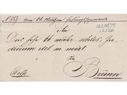 Ollmütz, modré razítko, skládaný dopis, prošlé v roce 1849