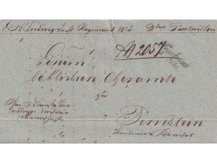 Teschen, skládaný dopis, prošlé v roce 1847, vojenský dopis