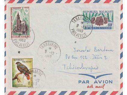 Malagasy, 1969, DR Tananarive, letecký dopis zasl. do Děčína