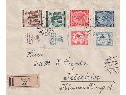 1942, DR Brno, R-dopis, zasláno do Jičína, stopy provozu