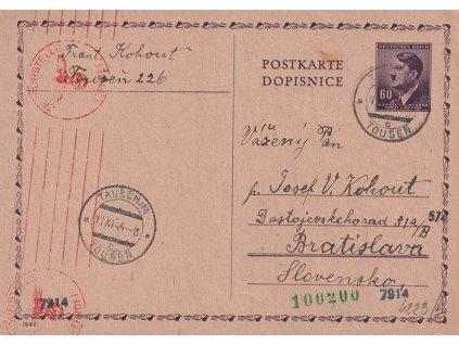 1944, DR Toušeň, dopisnice 60h Hitler zaslaná na Slovensko
