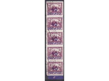 40/3h fialová, svislá 5páska, DV - větev, Nr.DL18, razítkované