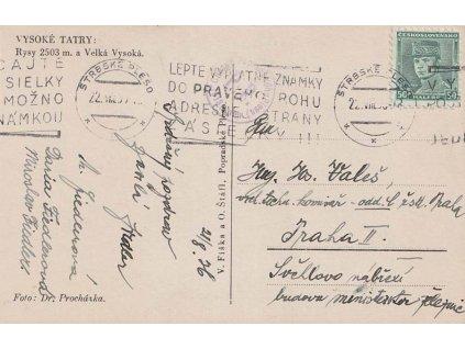 1936, Štrbské Pleso, Lepte známky do rohu, pohlednice