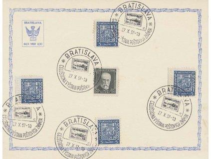 1937, Bratislava, Výstava známek, pamětní list, A5