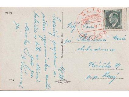 1938, Zlín, Autopošta, pohlednice, prošlé