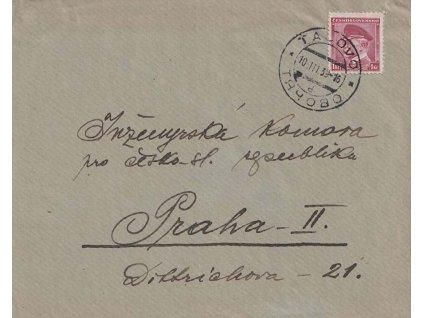 Tačovo, dopis zaslaný v roce 1939 do Prahy, dv