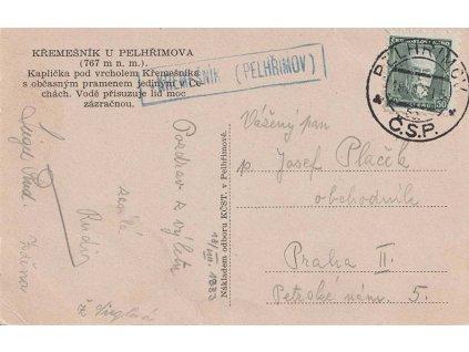 Křemešník (Pelhřimov), DR Pelhřimov, pohlednice, prošlé 1933