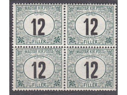 12f Doplatní - černé číslo, 4blok, **, zn. platná v ČSR