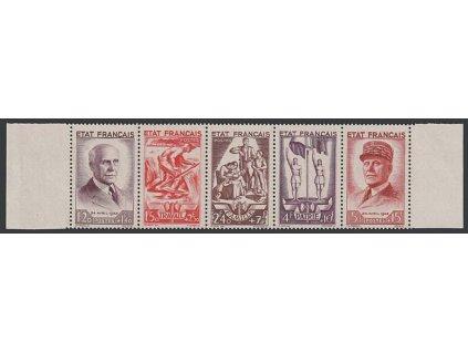 1943, 1.20-5Fr soutisk Pétain, MiNr.589-93, ** , dv