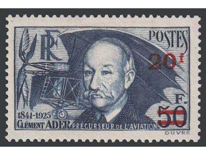 1940, 20 Fr / 50 Fr modrá, Nr.495, * po nálepce, drobný vlom