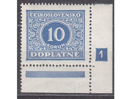 1928, 10Kč modrá, roh. kus s DČ 1, Nr.DL65, **