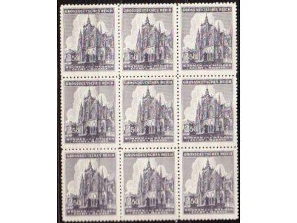 1944, 2.50K sv Vít, 9blok s DV tečka, DV na pravé horní zn., Nr.121DV, **