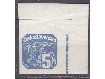 1937, 5h modrá, rohový kus, lišta nahoře, Nr.NV15, **, ilustrační foto