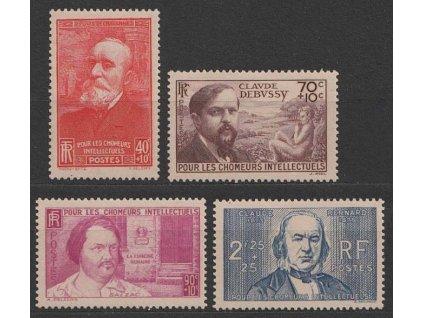 1939, 40C-2.25Fr série Intelektuálové, MiNr.450-53, **