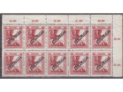 40f Válečné, přetisk Köztársaság, roh. 10blok, známky platné v ČSR, **, dekorativní