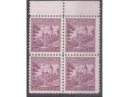 1932, 3.50Kč Křivoklát, krajový  4blok, Nr.265, **