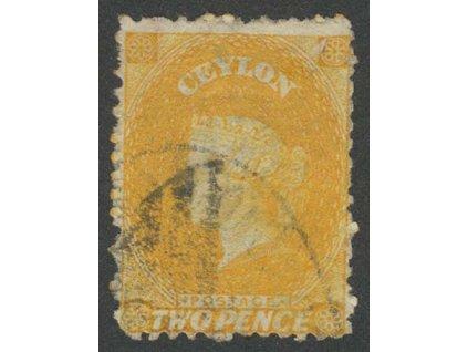 Ceylon, 1863, 2 P Viktoria, MiNr.32, razítkované