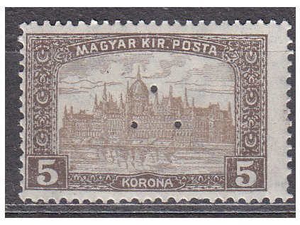 5K Parlament, perfin (3 průpichy), * po nálepce, zn. platná v ČSR, ilustrační foto