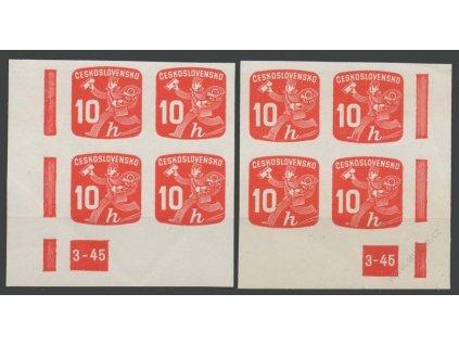 1945, 10h Novinové, 4bloky s DČ 3-45, ** , výrobní lomy
