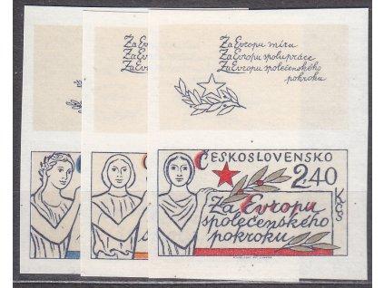 1977, 60h-2.40Kčs Evropa, nezoubkované, horní kupony, Nr.2273-5B, **