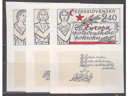 1977, 60h-2.40Kčs Evropa, nezoubkované, dolní kupony, Nr.2273-5B, **