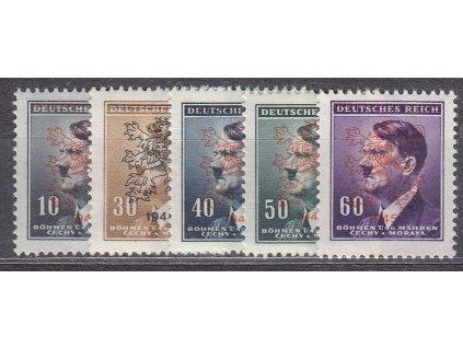 "10-60h Hitler, 5 hodnot s přetiskem ""lev 1945"""", **"