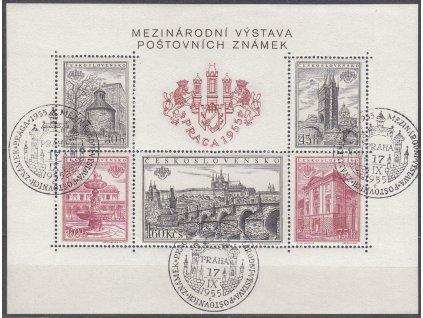1955, zoubkovaný aršík PRAGA 1955, pamětní razítka, Nr.A853-7